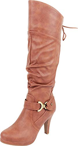 High Back Women's Tan Knee Corset High Platform Select Lace Pu Boot Heel Cambridge nq6Y1Ew1