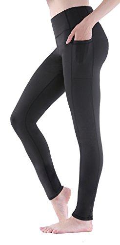 Lycra Workout Pants - Sudawave Women's Workout Leggings with Pocket Running Tights Capri Yoga Pants (Black, Medium)