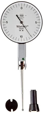 "Brown & Sharpe TESA Tesatast Dial Test Indicator, Top Mounted, Extra Long Contact Point, Inch, M1.4x0.3 Thread, 0.0787"" Stem Diameter"