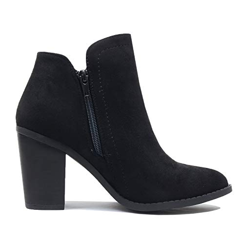 Boots Mid Block Comfortable Bootie Guilty Heel Heart Ankle Western Blackv1 Chunky Womens Suede awqXpXv