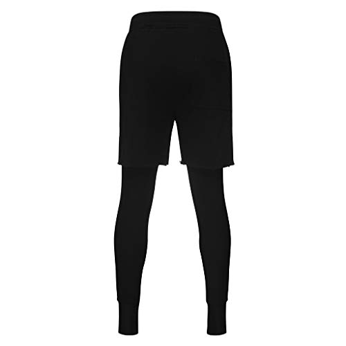 Allywit Men's Sports Shorts, 2 in 1 Training Running Basketball Tights Pants for Workout Gym Fitness Riding Black by Allywit-Pants (Image #2)