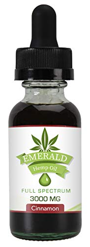 Full Spectrum Hemp Oil by Emerald Hemp | Premium Pure Hemp Extract, MCT Oil | All Natural Dietary Supplement for Enhanced Sleep | Herbal Drops | Food Grade | Made in the USA | Cinnamon Flavor | 3000mg