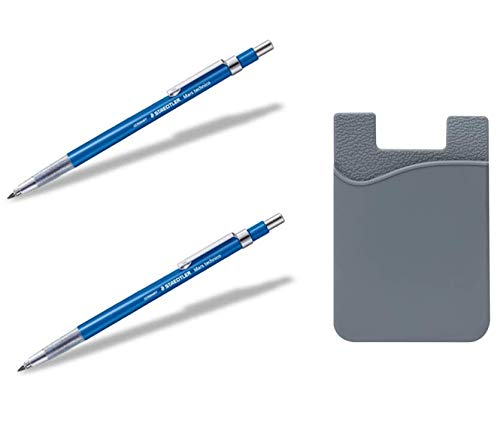 Staedtler Mars Technico Mechanical Technical Pencil Lead Holder 2pcs & Withjenny Freebie - Stick-On Wallet, ID/Credit Card Holder, Strong 3M Adhesive ... ()