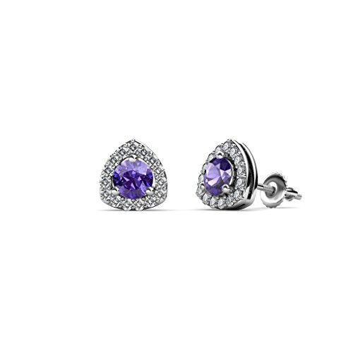 Iolite and Diamond Trillion Shape Stud Earrings 0.53 ct tw in 14K White (Trillion Cut Iolite Ring)