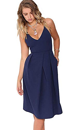 Eliacher Women's Deep V Neck Adjustable Spaghetti Straps Long Cami Summer Dress Sleeveless Sexy Backless Party Dresses with Pocket (S, Navy Blue)