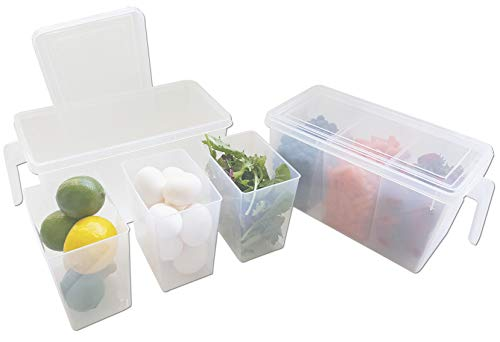 Refrigerator Organizer Container - Clear with Lid, Handle and 3 Smaller Bins - 2 ()