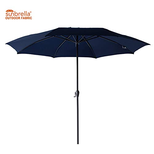 FLAME&SHADE 11' Outdoor Sunbrella Patio Umbrella Aluminum Market Style for Terrace Deck Café Restaurant or Balcony, Navy Blue (Restaurant Umbrella)