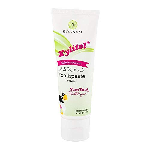 Branam Oral Health Xylitol Toothpaste for Kids, Yum Yum Bubblegum, 4.2 oz (Pack of 5)