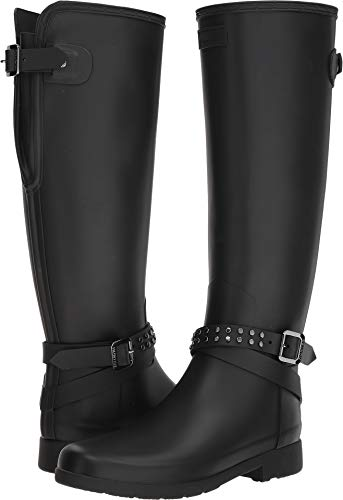 Hunter Women's Refined Back Adjustable Calf Stud Tall Rain Boots Black 8 M US