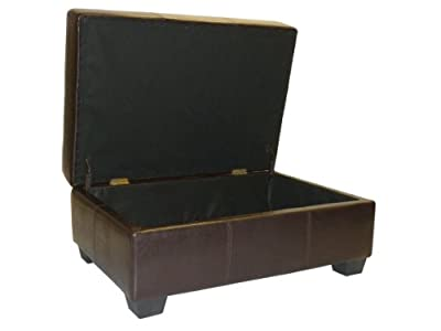 High Tufted Padded Hinged Storage Ottoman Bench