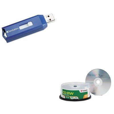 KITVER95169VER97086 - Value Kit - Verbatim CD-RW Discs (VER95169) and Verbatim Classic USB 2.0 Flash Drive (VER97086)