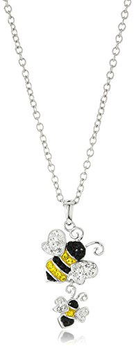 (Silver-Plated You & Me Crystal Bumblebees Pendant Necklace,)