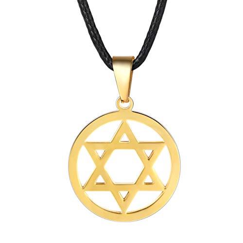 PROSTEEL Black Leather Necklace Jewish Magen Star of David 18K Gold Plated Pendant Men Women Bat Mitzvah Gift Hanukkah Israel Judaica Hebrew Jewelry ()