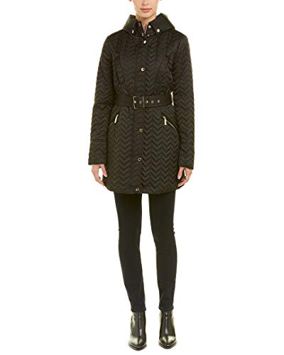 Quilted Coat Laundry (Laundry by Shelli Segal Womens Belted Quilted Coat, M, Black)