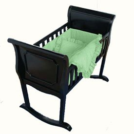 Babydoll Green Gingham Cradle Bedding, 18'' x 36''