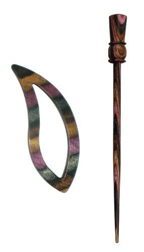 KnitPro KP20824   Lilac Wood Carina Leaf Shape Symfonie Shawl Pin With Stick