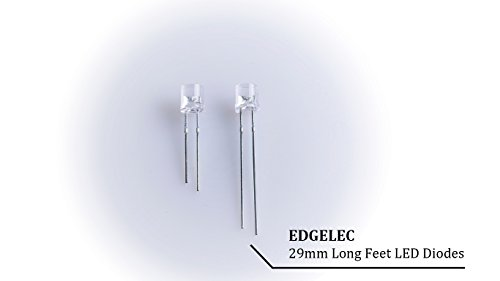 EDGELEC 100pcs 5mm Warm White Lights LED Diodes Water Clear Round Top 29mm Long Feet (DC 3V) +100pcs Resistors (for DC 6-13V) Included/Ultra Bright Bulb Lamps Light Emitting Diode