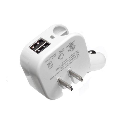 UPC 813538013202, Premiertek Dual USB AC/DC Wall/Car Charger with 8-Pin Lightning Data Cable for iPhone 5/5C/5S - Retail Packaging - White