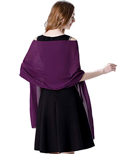 Soft Chiffon Scarve Shawls Wraps for Dresses Women Accessories Plum
