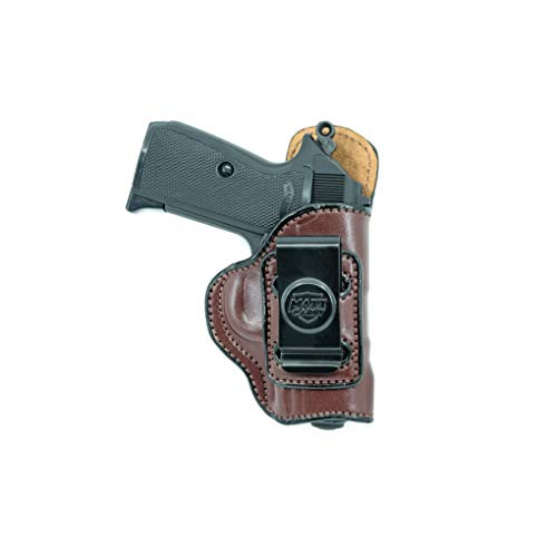 Maxx Carry IWB Leather Gun Holster for Ruger LCP, LCP II .380 ACP | Concealed Carry | Fits S&W Bodyguard 380 | Colt Mustang | Sig Sauer P238 | Walter PPK, Brown, Right Hand Draw (Acp Holster Ruger)