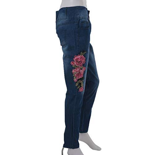 Verde De S Floral Bordado Oscuro Toogoo Pantalones Claro Delgados Flacos Informal Tama?o Lápiz Grande Mujer Mezclilla Extra Moda Pies Estiramiento Azul UxqUaECrwg