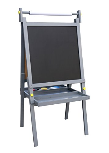 Pidoko Kids Standing Art Wooden Easel, Grey - Magnetic Dry Erase Board, Chalk Board and Paper Roller - 2 Sided A-Frame with storage compartment and paint cups - Art Station for Boys & Girls (Gray) ()