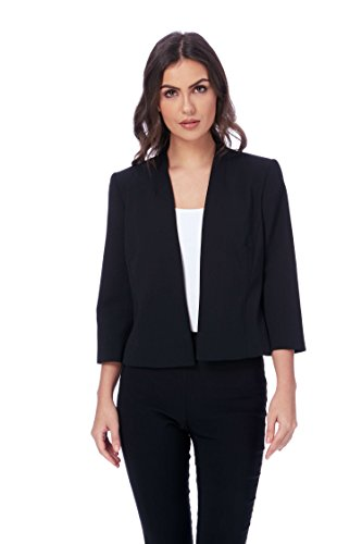 Roman Originals - Veste Courte Simple Manches 3/4 Uni Bureau - Noir Noir