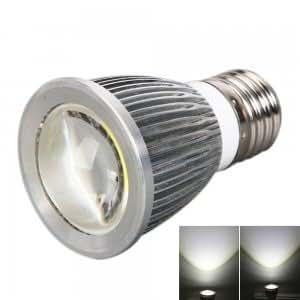 E27 COB 5W 600LM 6000K White Light Spot Outside Convex Light Bulb Silver (85-265V)