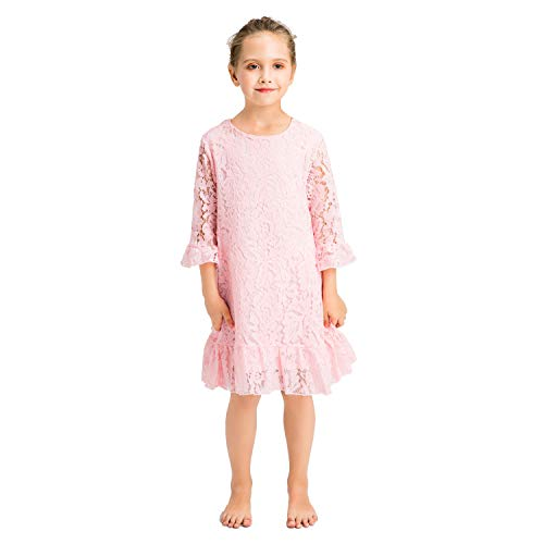 Lace Dress Flounce (Girl Dress Lace Toddler Flounce Flower Girls Dresses with Sleeves (8, Pink))