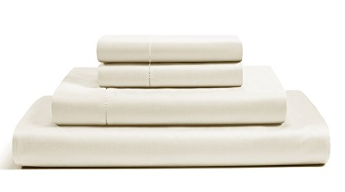 (500 Thread Count Cotton Sheets Set - 100% Pima Cotton Pure Sateen Weave Long Staple Ultra Soft 4 Piece Bed Sheet Sets, Solids and Stripes Fits 18
