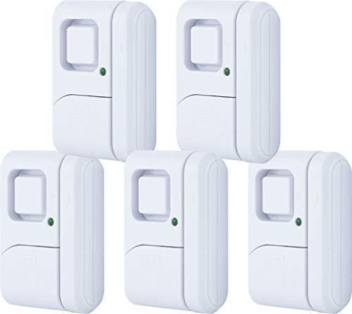 GE Personal Security Window/Door, 5-Pack, DIY Protection, Burglar Alert, Magnetic Sensor, Off/Chime/Alarm, Easy Installation, Ideal for Home, Garage, Apartment, Dorm, RV and Office, 45987, Piece (Window Alert Security)