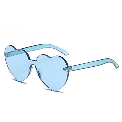 Heart Shaped Rimless Sunglasses Candy Steampunk Lens for women - And Designer Heart With Eyes