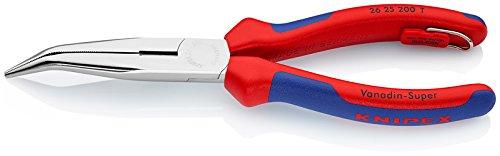 Knipex 26 25 200 T Pince Demi-Ronde avec Tranchant chromée avec Gaines bi-matière, avec œillet intégré pour Fixation d'Un Dispositif antichute 200 mm, Multicolore