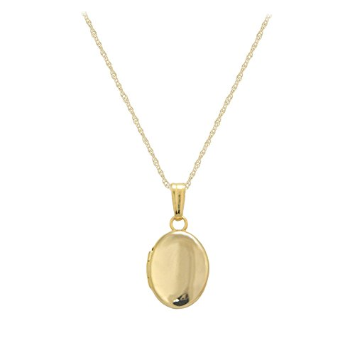 Child Oval Locket (13 Inches Rope Chain 14K Yellow Gold Oval Locket For Babies Or Toddlers)