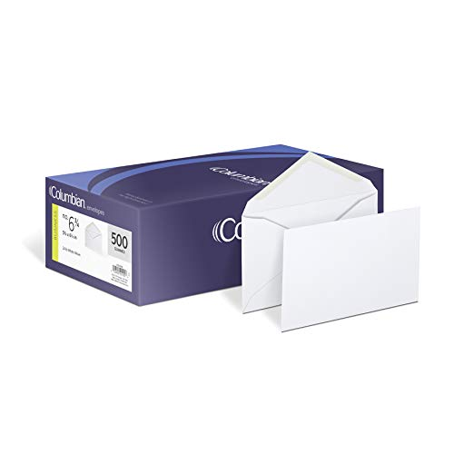 Columbian #6 3/4 Business Envelopes, 3-5/8 x 6-1/2 Inches, Gummed Seal, Diagonal Seam Envelope Construction, White Wove, 500 per Box (COLO105)