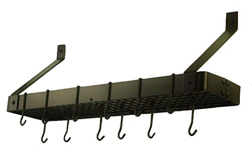 Bronze Hanging Old (Old Dutch Wall-Mount Bookshelf Pot Rack with Grid & 12 Hooks, Oiled Bronze, 36.25