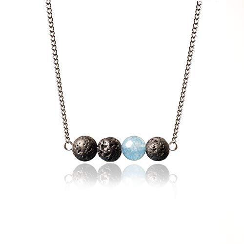 """Lava Stone Aromatherapy Necklace for Essential Oils with Stainless Steel Chain, 17.5+1.5"""" Extender"""