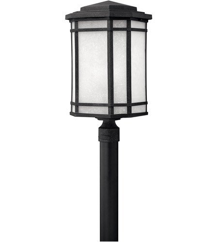 - Outdoor Post 1 Light With Vintage Black White Linen Cast Aluminum Unidirectional 22 inch 15 Watts