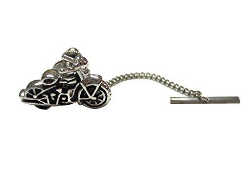 Kiola Designs Black and Silver Toned Motorcycle Tie Tack ()