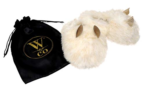 Win&Co Furry Fuzzy Fluffy Faux Fur Slippers Cream Gold with Ears Bunny Rabbit Unicorn Plush Stuffed Animal Fashion Vegan Satin Bag (Medium)