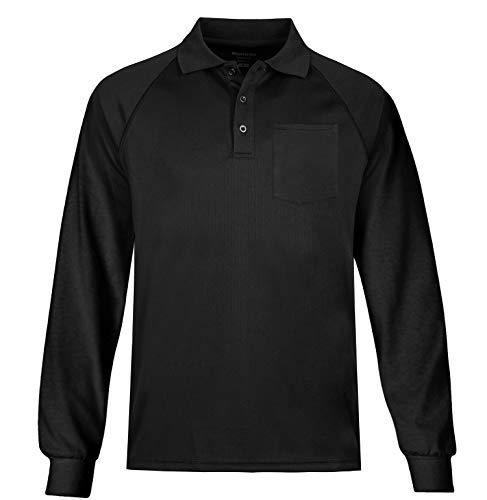 - MOHEEN Men's Long Sleeve Moisture Wicking Performance Golf Polo Shirt, Side Blocked, Tall Sizes: L-5XL (XL, Black)