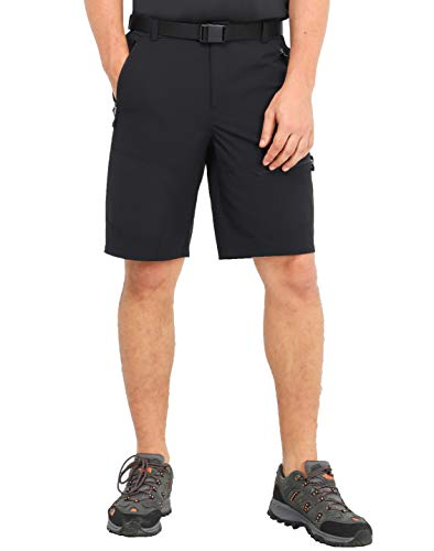 MIER Men's Stretch Tactical Shorts Lightweight Outdoor Cargo Shorts with 5 Zipper Pockets, Quick Dry and Water Resistant, Black, 32