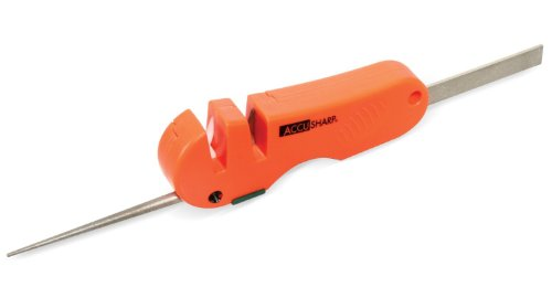 Accusharp 028C 4-in-1 Knife and Tool Sharpener, Blaze Orange
