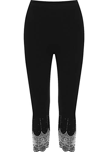 WearAll Women's Gold and Silver Stretch Sequin Leggings Ladies - Black Silver - US 20-22 (UK 24-26)