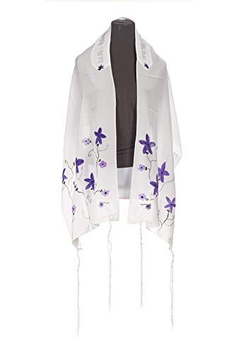 - Personalized White with Purple flowers Silk Tallit, Bat Mitzvah Tallit, Womens Tallit, Gilrs Tallit from Israel