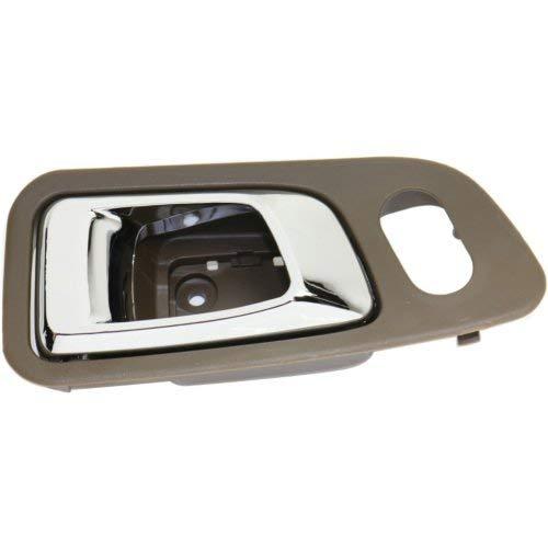 - Interior Front Door Handle Compatible with HONDA PILOT 2003-2008 LH Chrome+Saddle (Brown) Plastic