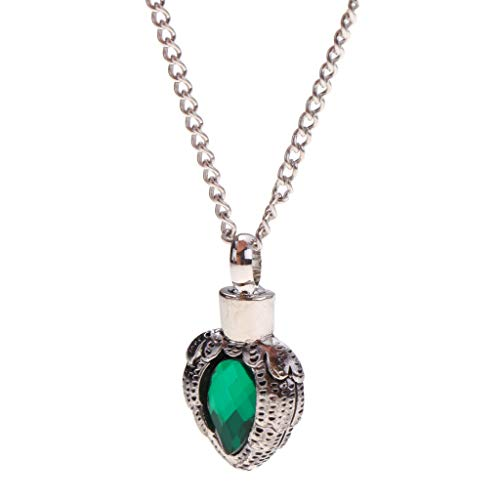 (Heart Green Rhinestone Urn Pendant Ash Cremation Openable Memorial Necklace)