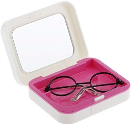 CUTICATE 1/3スケール 人形メガネ 眼鏡モデル ミニチュア ケース付き 撮影 コスプレ グッズ ドールアクセサリー - ブラック