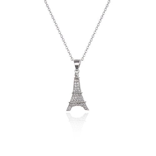 AMYJANE Eiffel Tower Necklace for Girls - 14k White Gold Plated Small Eiffel Tower Charm Necklace with Swarovski Elements Austrian Crystal Cubic Zirconia CZ Pendant Necklace Fashion Jewelry for Women