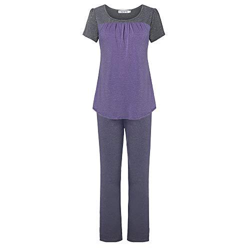 ENIDMIL Womens Pajama Set Soft Sleepwear Loungewear PJ Set with Short Sleeve Pleated Stitching Top and Long Pants